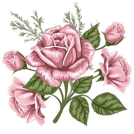 Vintage boeket van roze rozen. Vector afbeelding.