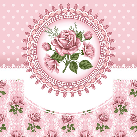vintage postcard: Pink romantic floral background with vintage roses