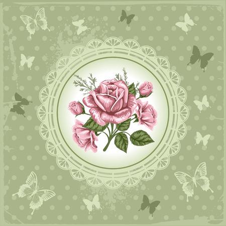 Romantique fond floral avec des roses anciennes