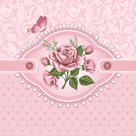 romantic: Pink romantic floral background with vintage roses
