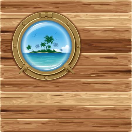 porthole: Boat porthole with seascape