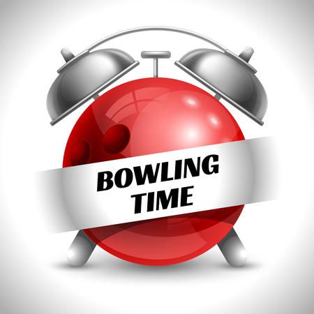 Bowling Zeit. Konzept für Sport Bowling Theme. Zeit zu spielen Sport. Zeit zu beobachten Bowling Turnier. Zeit zu spielen Bowling. Vektor-Illustration. Isoliert auf weißem Hintergrund. Vektorgrafik