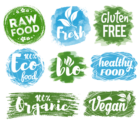 Labels and badges set with healthy, eco, organic and raw food diet designs for meal and drink, shops, cafe, restaurants and products packaging. Vector illustration.