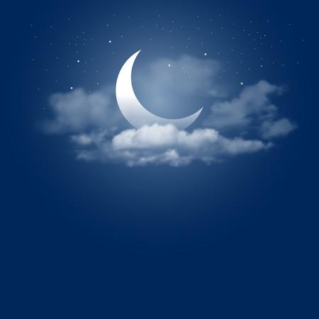 Mystieke hemel Nacht achtergrond met een halve maan, de wolken en de sterren. Moonlight 's nachts. Vector illustratie. Stockfoto - 55571655