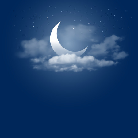 a590283f5b9 Mystical Night sky background with half moon