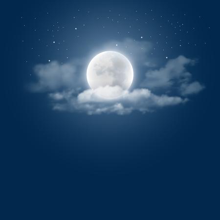 Mística fondo del cielo nocturno con luna llena, las nubes y estrellas. noche de luna. Ilustración del vector.