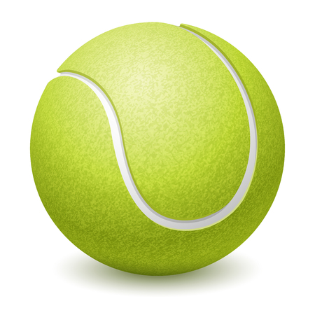 tennisball: Green Tennis Ball. Realistic Vector Illustration. Isolated on White Background.