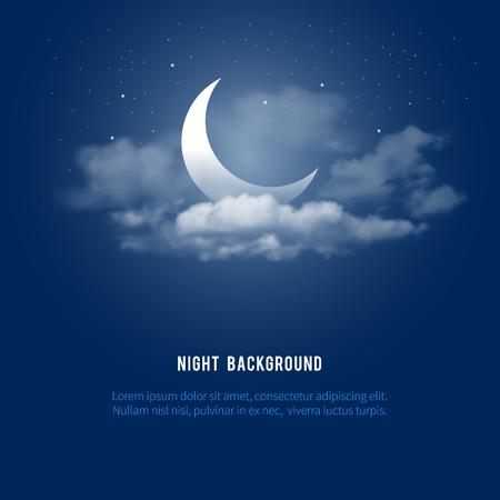 Mística fondo del cielo de la noche con la media luna, las nubes y estrellas. noche de luna. Ilustración del vector.