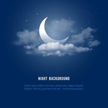 skies: Mystical Night sky background with half moon, clouds and stars. Moonlight night. Vector illustration.