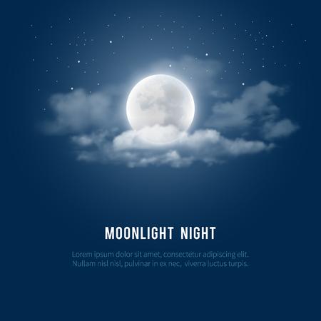 Mística fondo del cielo nocturno con luna llena, las nubes y estrellas. noche de luna. Ilustración del vector. Ilustración de vector