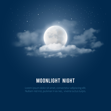 Mystical Night sky background with full moon, clouds and stars. Moonlight night. Vector illustration. Illustration