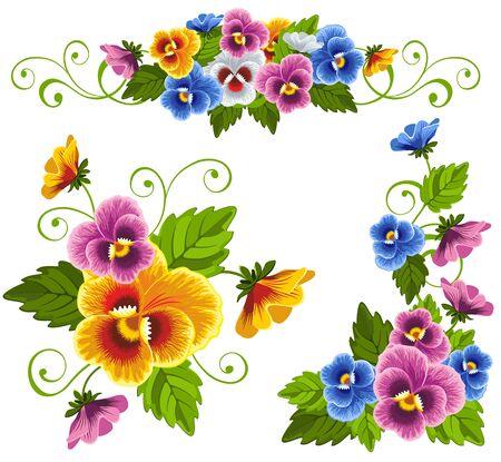 Conjunto de patrones florales suaves con el pensamiento. Dibujado con gradientes.