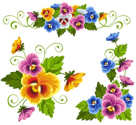 Set of gentle floral patterns with pansy. Drawn with no gradients.