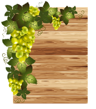 planking: White grapes on a wooden background with space for your text
