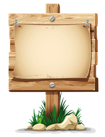 nailed: Wooden signpost with nailed paper sheet, grass and stones. There is space for your text. Vector illustration. Illustration