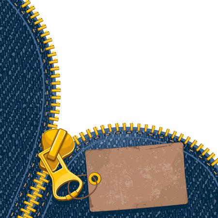 leather pants: Metal zipper with label on denim background Illustration