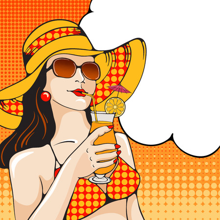 ben day dot: Young woman in swimsuit holding tropical cocktail on the beach. Pop Art girl. Vector illustration in retro style pop art.