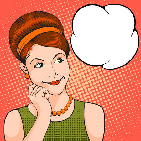 Young woman thinking about something pleasant. Pop Art girl. Vector illustration in retro style pop art. 일러스트