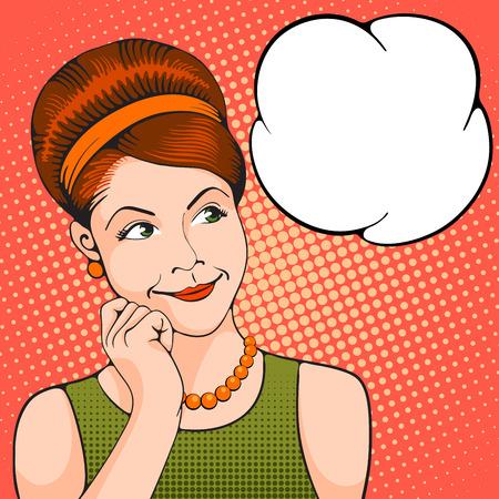 Mujer joven que piensa en algo agradable. Chica del arte pop. Ilustración del vector en el arte pop retro estilo. Foto de archivo - 55686184