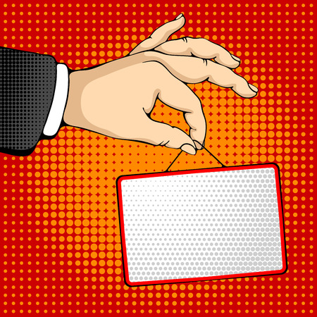 ben day dot: Male hand holding a rectangle sign. Pop art design concepts for web banners, web sites, printed materials. Vector illustration in retro style pop art.
