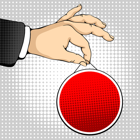ben day dot: Male hand holding a round sign. Pop art design concepts for web banners, web sites, printed materials. Vector illustration in retro style pop art.