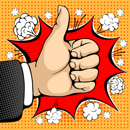 ben day dot: Male hand shows like sign. Like concept sign. I like that. Seal of approval. Pop art design concepts for web banners, web sites, printed materials. Vector illustration in retro style pop art.