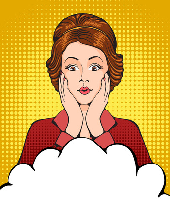 imagines: Young woman with something pleasantly surprised. Pop Art girl. Vector illustration in retro style pop art.