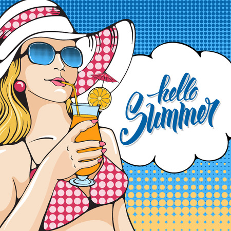 Young woman holding tropical cocktail on the beach. Pop Art girl. Vector illustration in retro style pop art. Vetores