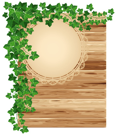 planking: Wooden background with ivy with space for your text
