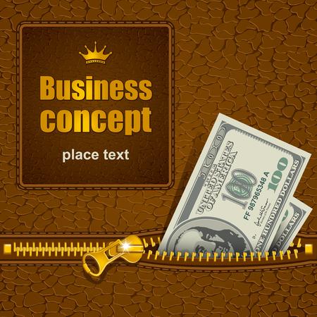 fermeture à glissière en métal sur le matériau en cuir. billets d'un dollar qui sort. Il y a un espace pour votre texte.