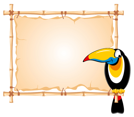 bamboo frame: Cheerful toucan sitting on a bamboo frame Illustration