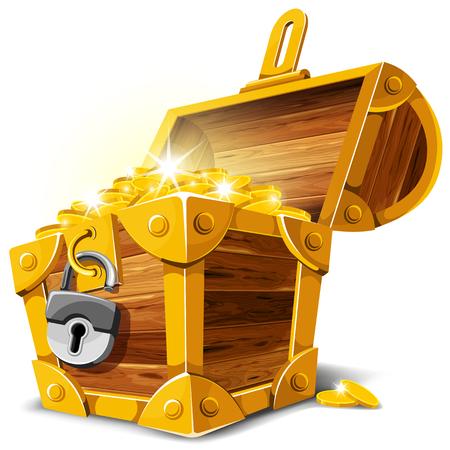Opened antique treasure chest. Vector illustration. Vettoriali
