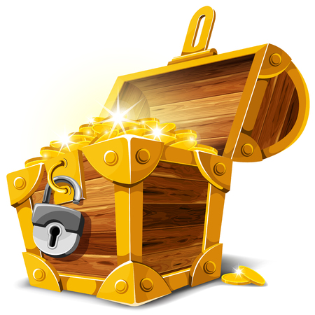 Opened antique treasure chest. Vector illustration. Çizim