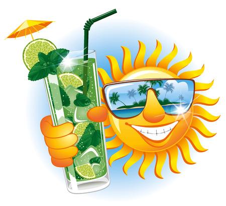 Vrolijke zon in de zonnebril met verfrissende cocktail