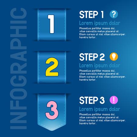 Fortschritte Schritte für Tutorial, Produktwahl oder Bedienungsanleitung. Vektor. Vektorgrafik