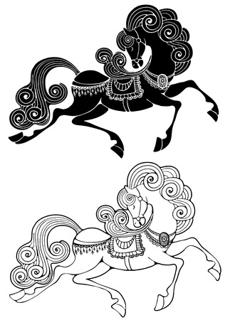 chic: Fabulous horse with chic tail and mane Illustration