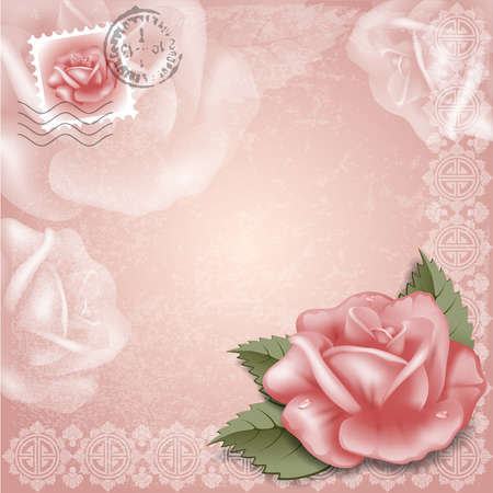 photoalbum: Vintage greeting cards with rose.