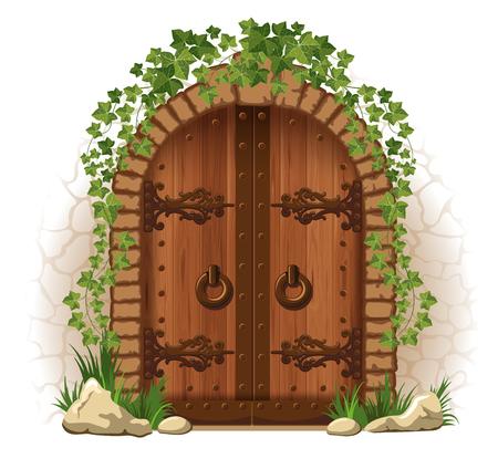 Arqueada puerta de madera medieval en una pared de piedra, con la hiedra Ilustración de vector