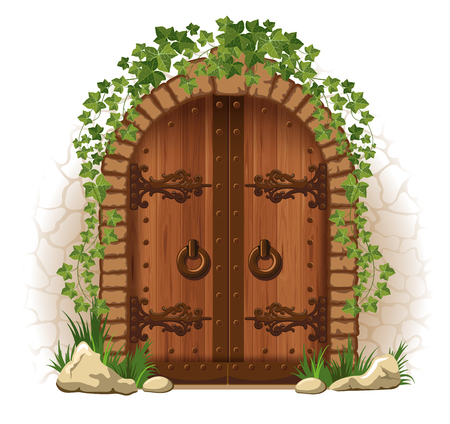 Arched medieval wooden door in a stone wall, with ivy Illustration