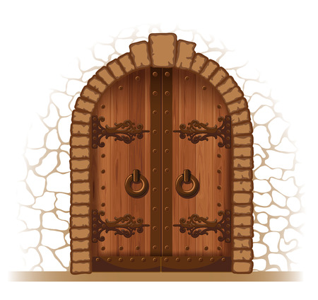 arched: Arched medieval wooden door in a stone wall