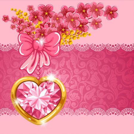 diamond heart: Cute valentine card with diamond heart, bouquet of spring flowers and place for your text