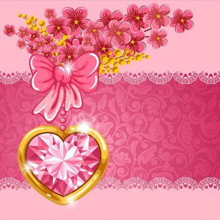 joyas de oro: Linda tarjeta de San Valent�n con el coraz�n del diamante, ramo de flores de la primavera y el lugar para el texto Vectores