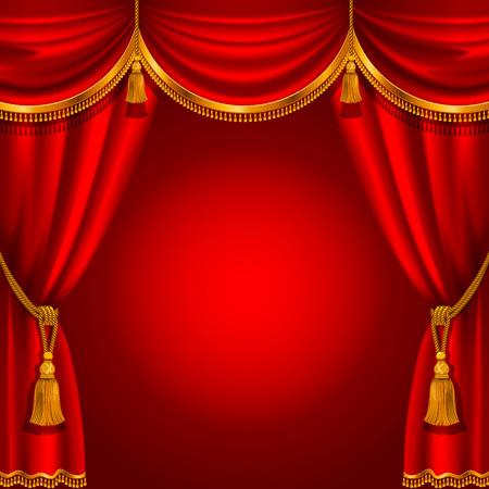 Theater podium met rood gordijn. Gedetailleerde vector illustratie.