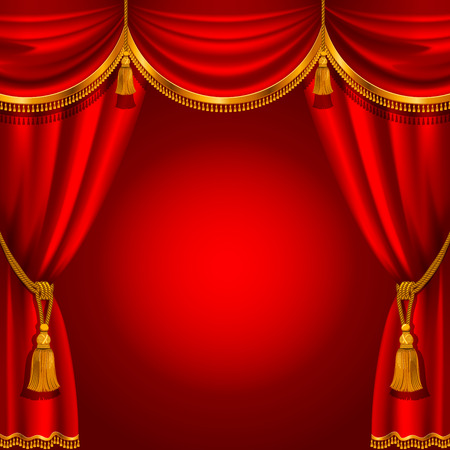 Theater stage with red curtain. Detailed vector illustration. Çizim
