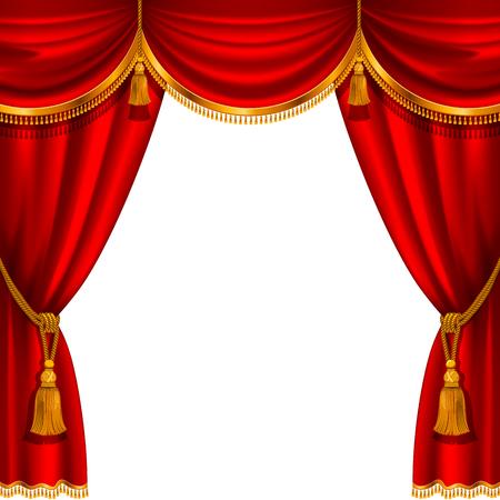 Scena teatralna z czerwoną kurtyną. Szczegółowy ilustracji wektorowych.