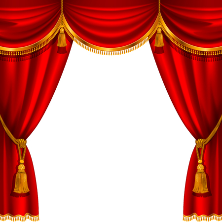 Theater stage with red curtain. Detailed vector illustration. Stock Illustratie