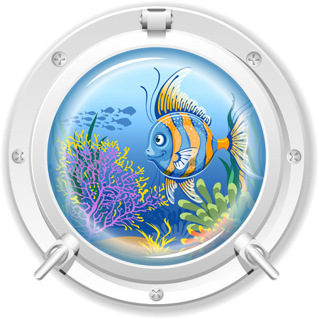 Underwater sea view from the porthole window