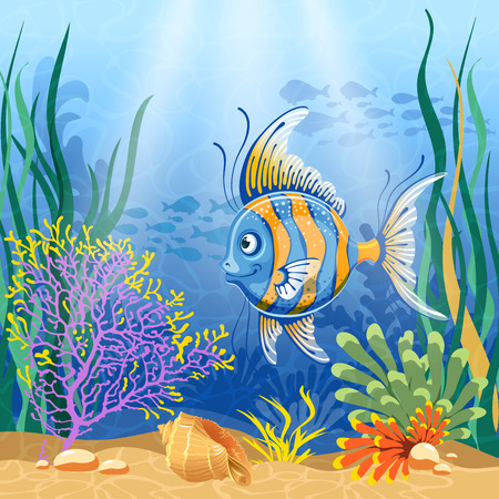 exotic fish: Underwater landscape with exotic fish Illustration