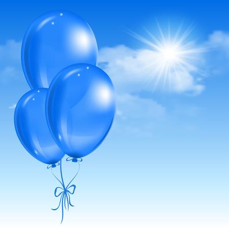 Luftballons schweben in den Himmel mit Wolken. Vektor-Illustration.