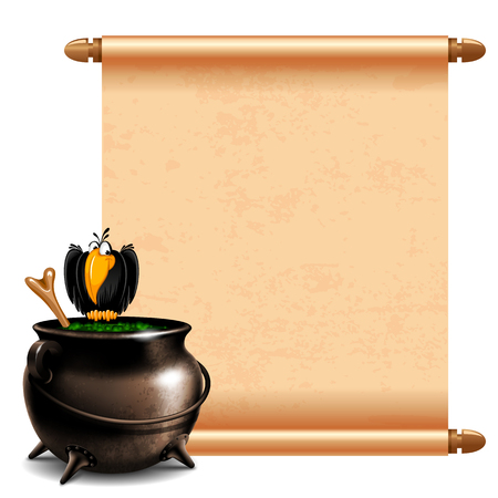 magic cauldron: Witches cauldron with potion and magic scroll isolated on white background